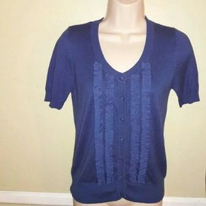 Twenty one women's blue ruffle front sweater
